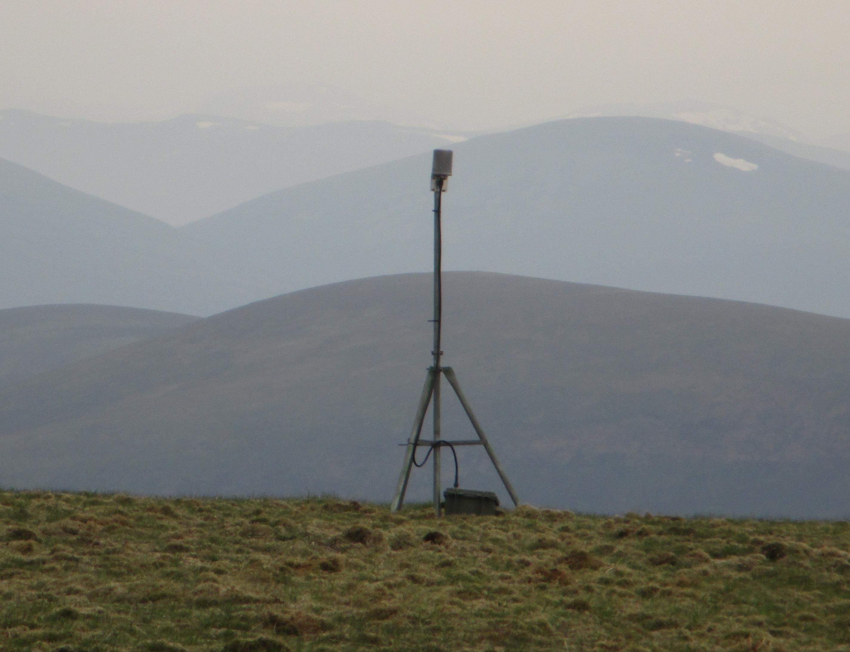 This sensor node links our radio network up into the peat study area